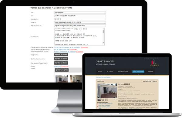 Interface d'administration sur mesure pour le site www.avocats-rvff.fr