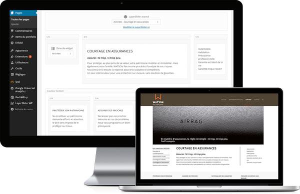 Espace d'administration de WordPress sur le site www.watsonpatrimoine.com